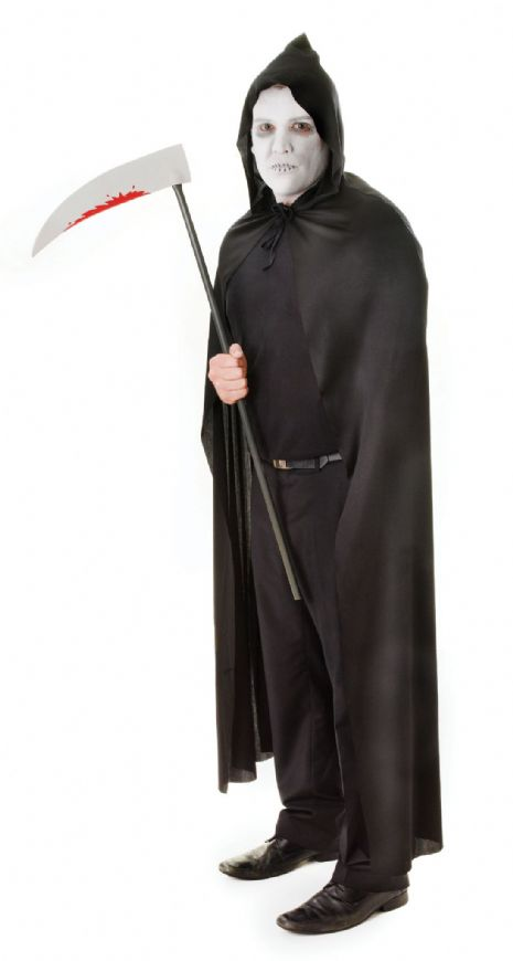 Adults Hooded Cape Black Costume Superhero Villian Super Hero Fancy Dress Outfit